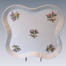 """Large """"Moss Rose"""" Tray, Antique 19th C English Porcelain"""