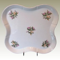 "Large ""Moss Rose"" Tray, Antique 19th C English Porcelain"