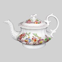 """Antique Hilditch Teapot, English Chinoiserie, """"Dancing Dog"""", Early 19th C"""