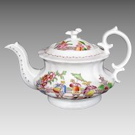 "Hilditch 4-Cup Teapot, ""Dancing Dog"", Antique Early 19th C English Chinoiserie"