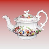 """Hilditch 4-Cup Teapot, """"Dancing Dog"""", Antique Early 19th C English Chinoiserie"""