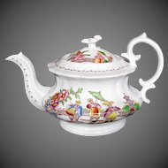 """Antique Teapot, English Chinoiserie, """"Dancing Dog"""", Hilditch Early 19th C"""