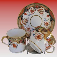 Spode Porcelain Trio, 2 Cups + Saucer, Early 19th C English Imari