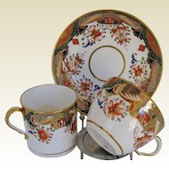Antique Spode  Trio:  2 Cups + Saucer, Early 19th C English Imari