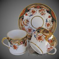 Antique Spode  Trio:  2 Cups + Saucer, Early 19th C English Imari