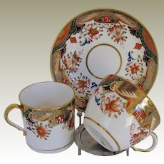 Spode Porcelain Trio, 2 Cups + Saucer, Early 19th C English Imari