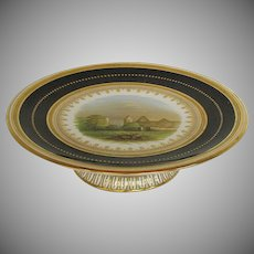 English Porcelain Tazza, Hand Painted Landscape, Dark Blue and Gold, Antique 19th C