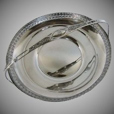 Antique Watson Sterling Silver Large  Basket with Handle