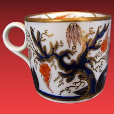 """Antique New Hall Coffee Can, """"Imari Vine"""", Early 19th C English Porcelain"""
