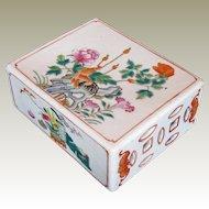 Antique Chinese Porcelain Opium Pillow (Headrest), Famille Rose