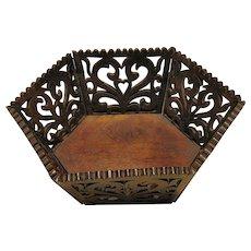 Antique Walnut Fretwork Basket, Hexagonal, Antique 19th C Folk Art