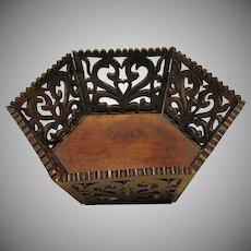 Victorian Walnut Fretwork Basket, Hexagonal, Antique 19th C Folk Art