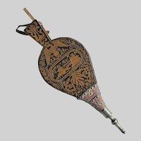 "Antique English Penwork Bellows, Chinoiserie, Small ""Boudoir"" Size"