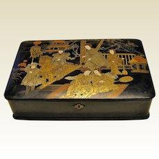 Large Japanese Papier Mâché Box, Antique 19th C
