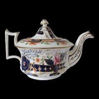 Antique English Teapot,  Imari Colors,  Early 19th C Porcelain
