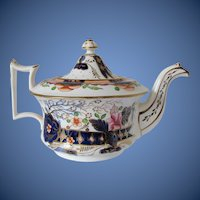 Antique English Teapot,  Imari Colors,  Early 19th C