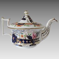 Antique Staffordshire Porcelain Teapot,  Imari Colors,  Early 19th C English