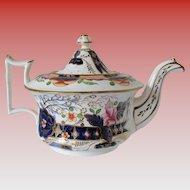 Antique Staffordshire Porcelain Teapot,  Imari Colors,  Early 19th C English