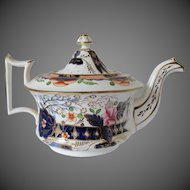 Antique English Teapot,  Imari Colors,  Early 19th C