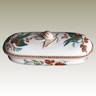 Staffordshire Razor Box/ Toothbrush Box, Bird Pattern, Antique 19th C