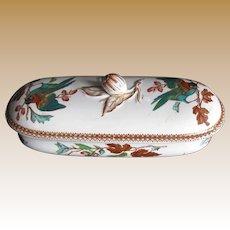 Antique Staffordshire Razor Box, Bird Pattern,  19th C