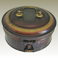 Toleware Spice Box, Round, with 7 Containers, Antique 19th C