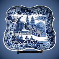 Antique Blue & White Transferware Dish, Early 19 C English, Unusual Pattern