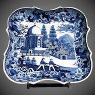 Antique Blue & White Transferware Dish, Early 19 C English, Unusual Pattern
