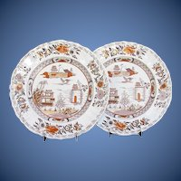 "Antique  Mason's Ironstone Plates (Pair),  ""Canton"",  Early 19th C"