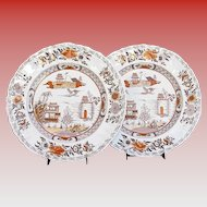 "Pair of Early Mason's Ironstone Plates, ""Canton"",  Antique Early 19th C"