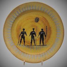Decorative Mid Century Modern Plate, Women Warriors, Studio Pottery, Stoneware