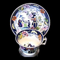 Antique Rathbone Chinoiserie Cup & Saucer, Early 19th C Porcelain