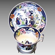 Antique English Chinoiserie Cup & Saucer, Early 19th C Porcelain, Rathbone