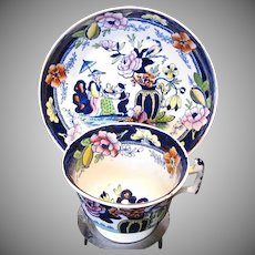 S & J Rathbone Chinoiserie Cup & Saucer, Boy with Tray, Antique Early 19th C English Porcelain