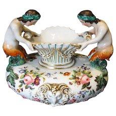 Antique French Porcelain Vase, Jacob Petit-style Paris,  Mermaids,  19th C
