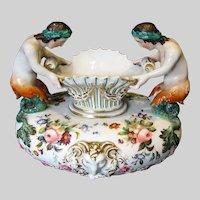 Antique French Porcelain Vase, Mermaids, Rococco Revival, Jacob Petit-style Paris,  19th C