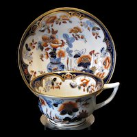 Antique Machin Porcelain Cup and Saucer,  Imari Colors, Early 19th C