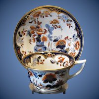 Antique Cup and Saucer,  English Imari, Machin Early 19th C