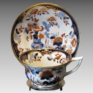 Rare Joseph Machin Cup and Saucer,  English Imari Porcelain, Antique Early 19th C