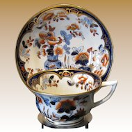 Rare Joseph Machin Cup and Saucer,  English Imari Porcelain, Antique Early 19th C