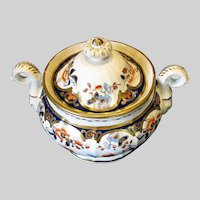 Antique Joseph Machin Covered Sugar, English Imari, Early 19th C