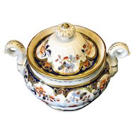 Joseph Machin Sugar Box, Rare Dolphin Handled Shape, English Imari, Antique Early 19th C