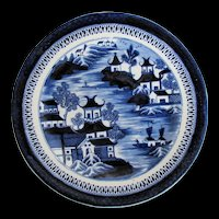 Antique Coalport Plate, Dark Blue & White Chinoiserie, Early 19th C English