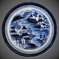 Antique English Plate, Dark Blue Chinoiserie,  Early 19th C Coalport