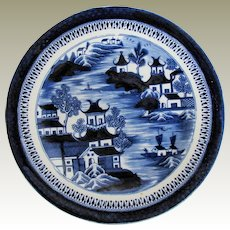 "John Rose Coalport Plate, Dark Blue Chinoiserie, ""Curly Pagodas"", Antique Early 19th C"