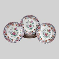 Antique Spode Plates, Peony, Set of 8, Early 19th C Chinoiserie,