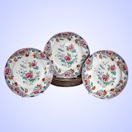 Spode Plates, Set of 8, Peony Pattern with Ship Border, Antique Early 19th C Chinoiserie,