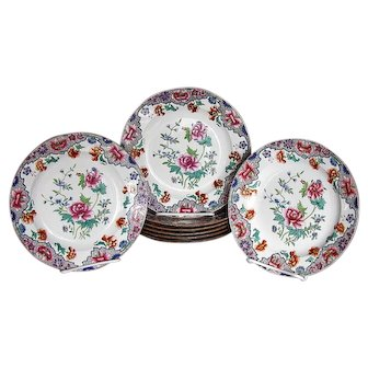 Spode Plates, Set of 8, Antique Early 19th C Floral Chinoiserie, Famille Rose Palette