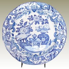 Mason's Ironstone Plate, Blue and White English Chinoiserie, Impressed Mark, Antique Early 19th C