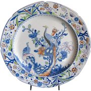 Mason's Ironstone Plate, Pheasant, Rare Mark, Antique Early 19th C English Chinoiserie